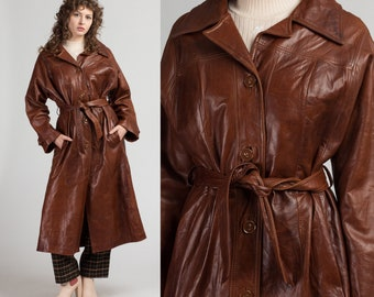 buttercream leather trench coat 70s minimalist neutral belted boho jacket S