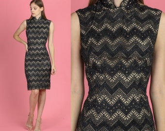 2da5521edf3f0 Vintage Mid Century Chinese Metallic Lace Cheongsam- Petite Small | Black  Silk Zig Zag Qipao Mini Wiggle Dress