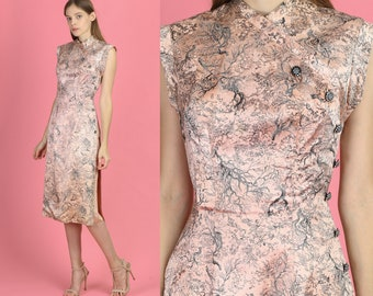 054a72814 Vintage 1950s Pink Silk Floral Forest Cheongsam - Extra Small | Mid Century  50s Jacquard Chinese Fitted Wiggle Dress