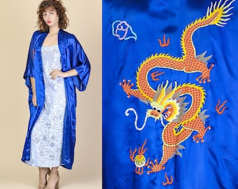 Vintage Silk Embroidered Dragon Robe - One Size  b1e493224
