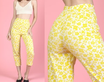 8914cd0dfb 60s Floral High Waisted Cigarette Pants - XXS | Vintage Boho Yellow & White  Mod Skinny Trousers
