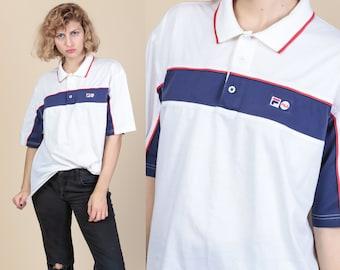 69e63d9b4e6e9 Fila Polo Shirt - Mens Large | Vintage Red White Blue 90s Short Sleeve  Collared Top