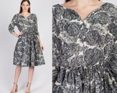 Vintage 1950s Silk Floral Dress, As Is - Medium to Large 50s 60s Fit Flare Knee Length Costume Party Dress