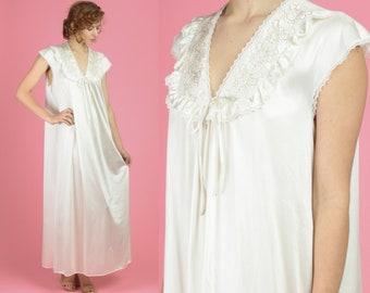 15f9842a177 70s Silky White Maxi Nightgown - Medium
