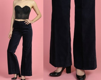cfec4ad3483034 70s Midnight Blue Velvet Pants - Small   Vintage High Waisted Flared Disco  Trousers