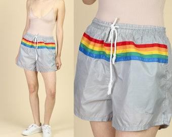 1878591b38deb Vintage 80s Rainbow Swim Trunks - XL | Retro Surf Shorts Striped Swimsuit  Unisex