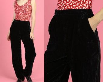 2798ef892482d 80s Black Velvet High Waist Pants - Medium to Large | Vintage Straight Leg  Retro Trousers