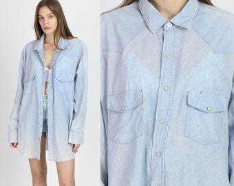 38de6333a152ae Vintage Chambray Pearl Snap Shirt - Men's 2XL | 80s Big Mac Faded Western  Oversize Oxford Top