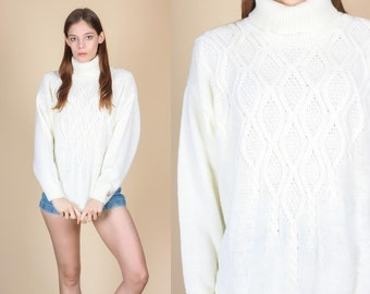 90d60a70e0462e 90s Cable Knit Turtleneck Sweater - Extra Large | Vintage Off White Pullover  Jumper