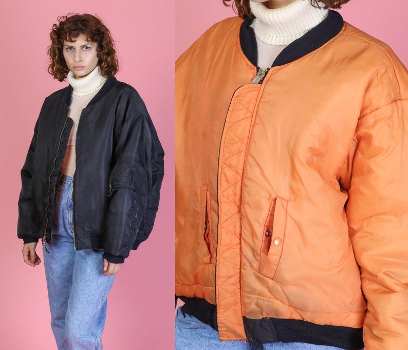 7e0a09719fa 80s Black Orange Reversible Bomber Jacket Men s XL