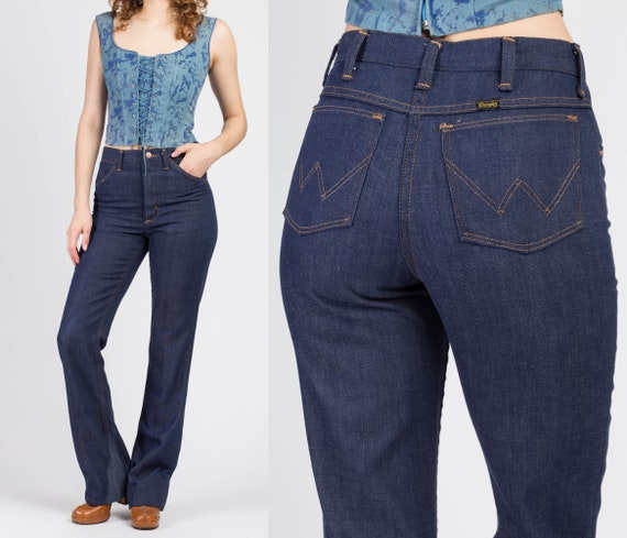 70s Wrangler High Waisted Distressed Flared Jeans