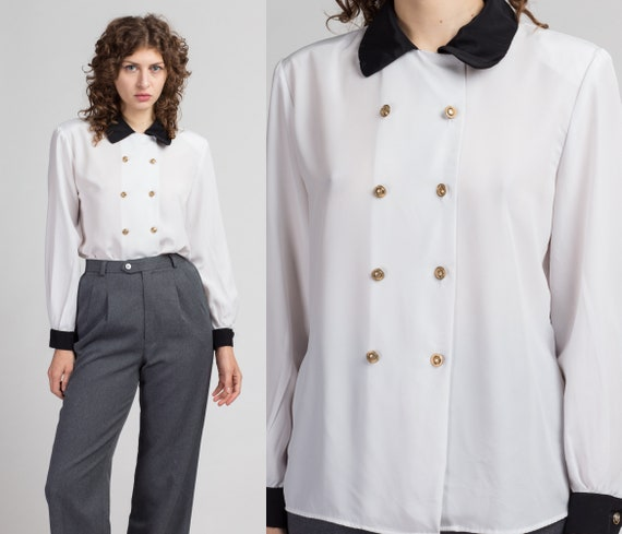80s White Double Breasted Blouse - Large   Vintage