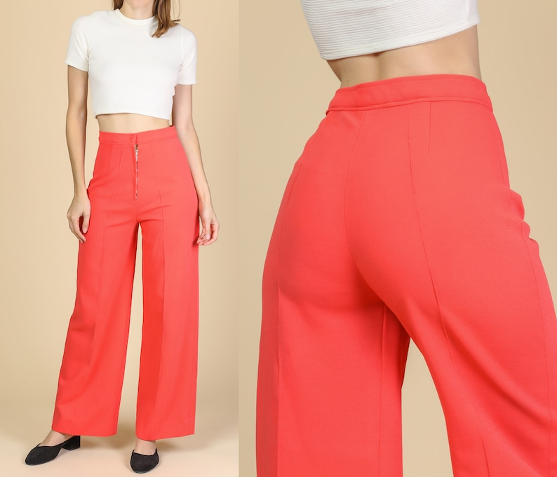 6755bc1bfe69a 70s Flared Salmon Pink Pants - Small | Vintage High Waisted Wide Leg Retro  Disco Trousers