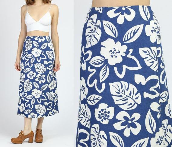 70s Floral Denim Wrap Skirt - Extra Small | Vintag