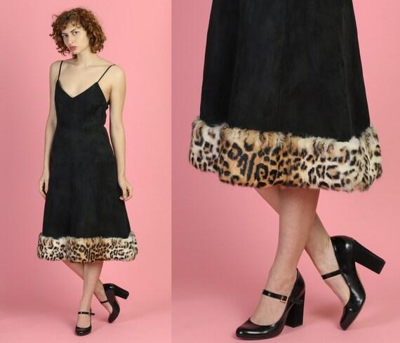 60s Black Suede Fur Trimmed Dress - Small | Vintag