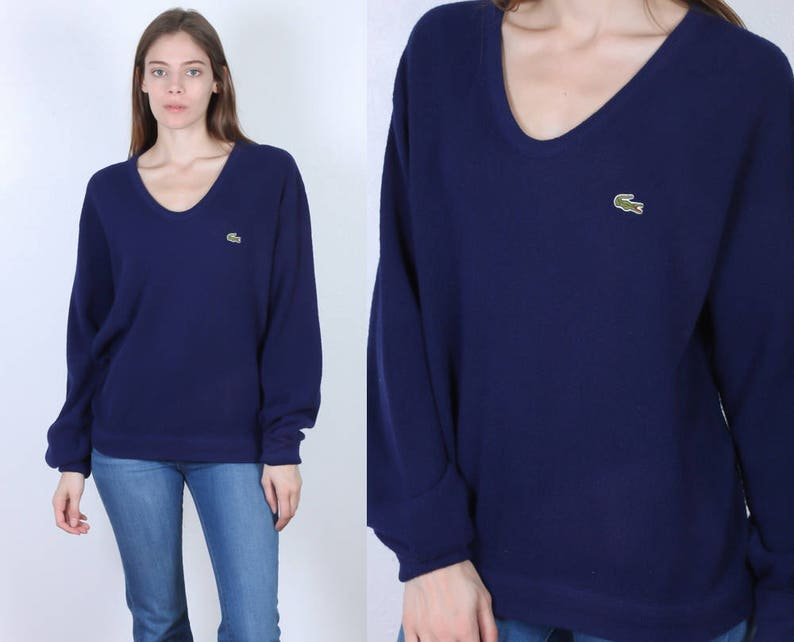 e0a4aa252b 80s Lacoste Sweater Vintage Izod V Neck Pullover Slouchy