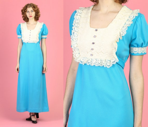 70s Boho Lace Bib Maxi Dress - Medium   Vintage Bl