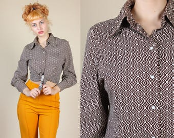 70s Levis for Gals Shirt | Vintage 'Big E' 60s Pearl Snap Long Sleeved Western Top - Large