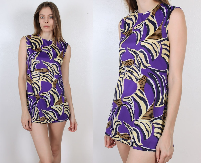 60s Mini Dress   Vintage Mod Shift Dress Psychedelic Saks Fifth Ave 70s Tunic Top Medium to Large
