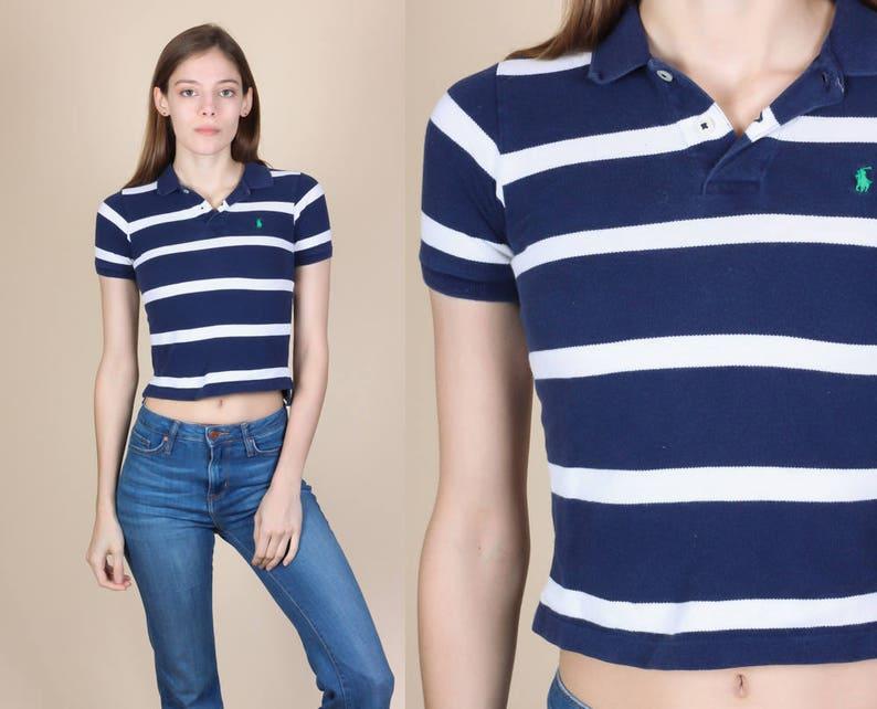 3fb112b29b4a3 Ralph Lauren Polo Crop Top XXS Petite Vintage Blue White