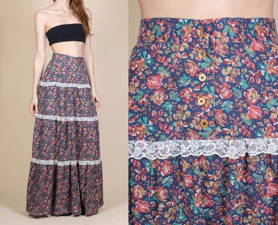 70s Boho Floral Maxi Skirt - Extra Small | Vintage