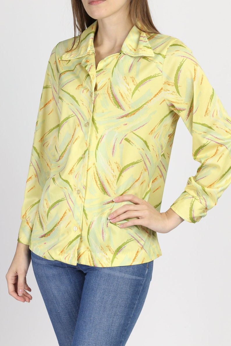 Large Vintage Yellow Button Up Long Sleeve Shirt 70s Abstract Print Disco Blouse