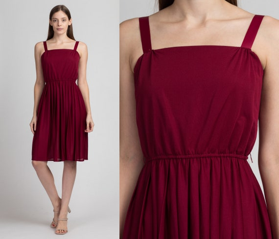 70s Boho Wine Red Party Dress - Small to Medium |