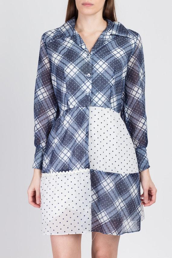 60s 70s Blue & White Plaid Polka Dot Mini Dress -… - image 4
