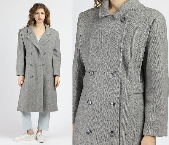 Vintage Women's Herringbone Striped Wool Overcoat-