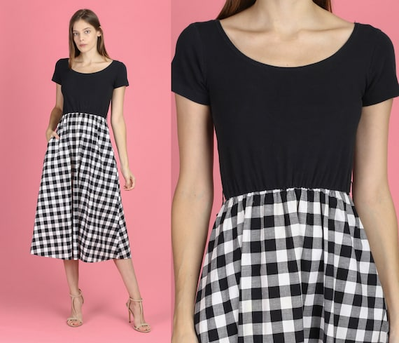 90s Black & White Gingham Midi Dress - XS to Small