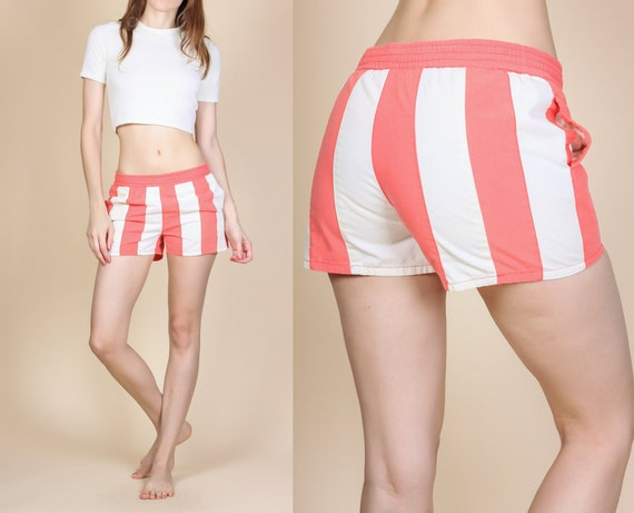 c04fed7b126 80s Striped Swim Shorts Extra Small to Small Vintage White