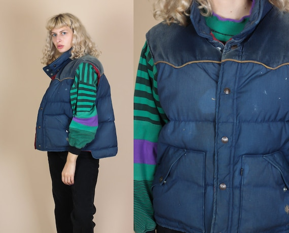 a79dcdea4d7 70s Levi s Puffy Vest Mens Large Vintage Corduroy Snap
