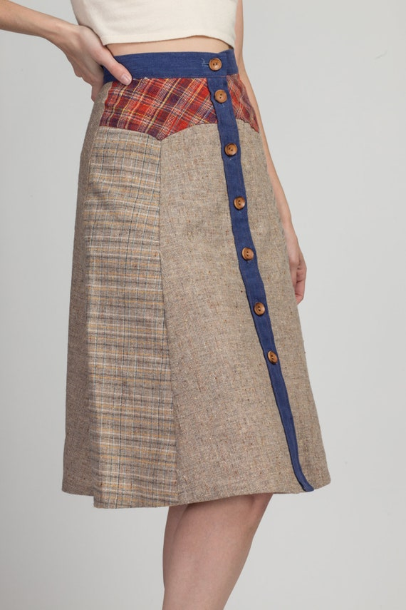 70s Pandora Boho Patchwork Skirt - Extra Small | … - image 4