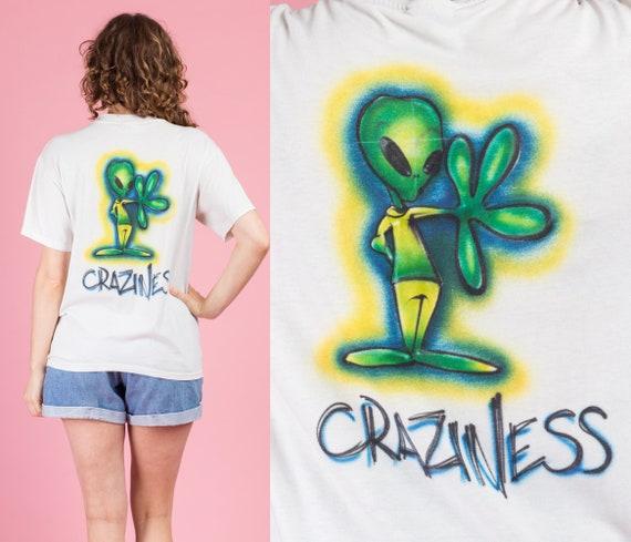 """90s """"Craziness"""" Graffiti Alien T Shirt - Men's Med"""