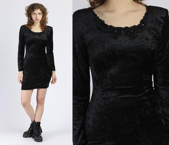 90s Black Velvet Bodycon Mini Dress - Small to Med