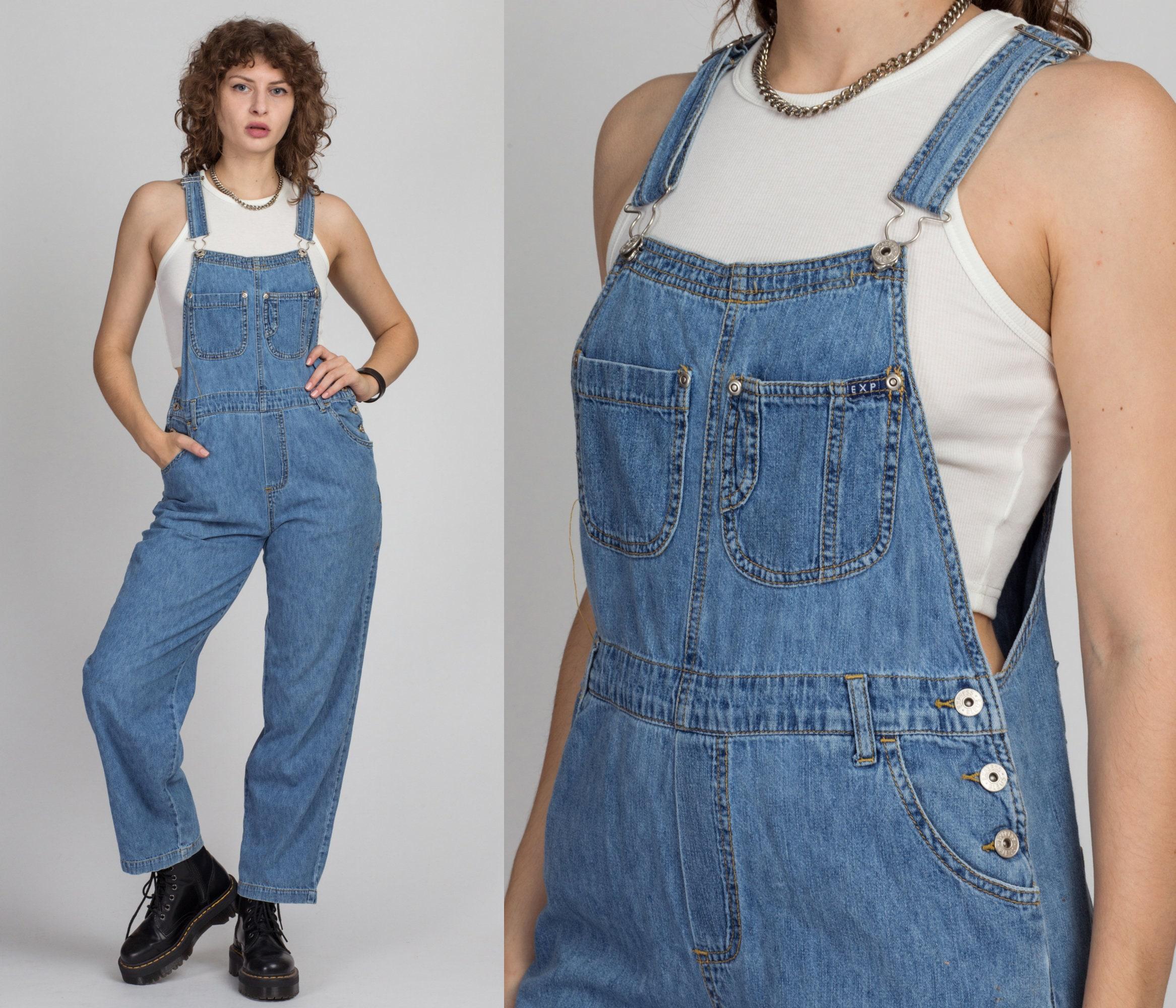 Vintage Overalls & Jumpsuits Vintage Express Jean Overalls - Medium  90S Denim Overall Pants Womens Dungarees $19.95 AT vintagedancer.com