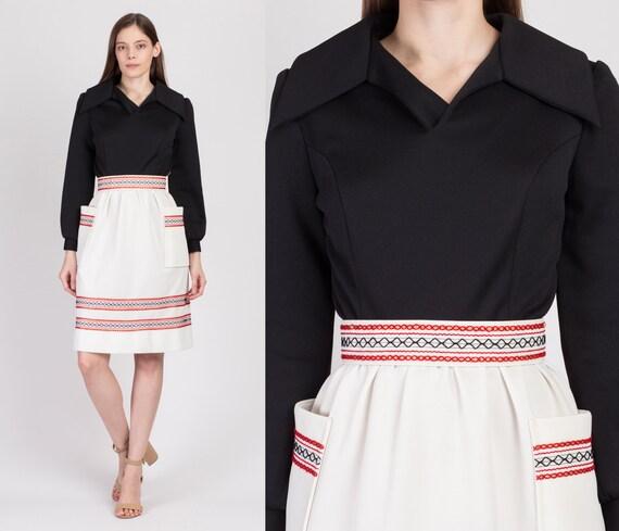 70s Belted Metallic Trim Mini Dress - Extra Small