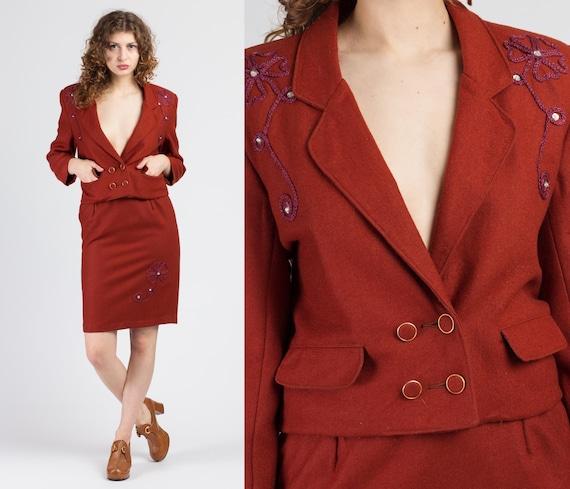 Vintage Rust Red Blazer Jacket & Skirt Set - Small