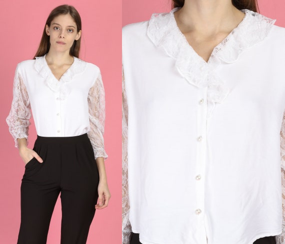 80s White Lace Collar Sheer Sleeve Blouse - Large