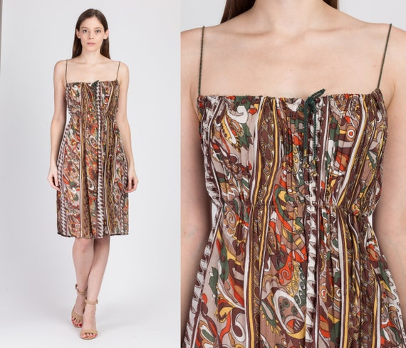 Boho Abstract Print Gauzy Mini Dress - Small to Me