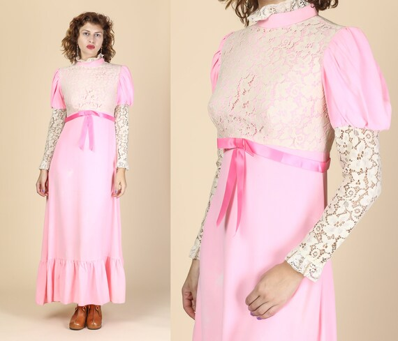 dcaa824373 Vintage Pink Prairie Maxi Dress Small 60s 70s Floral
