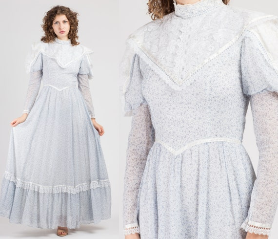 70s Gunne Sax Calico Prairie Maxi Dress - Extra Sm