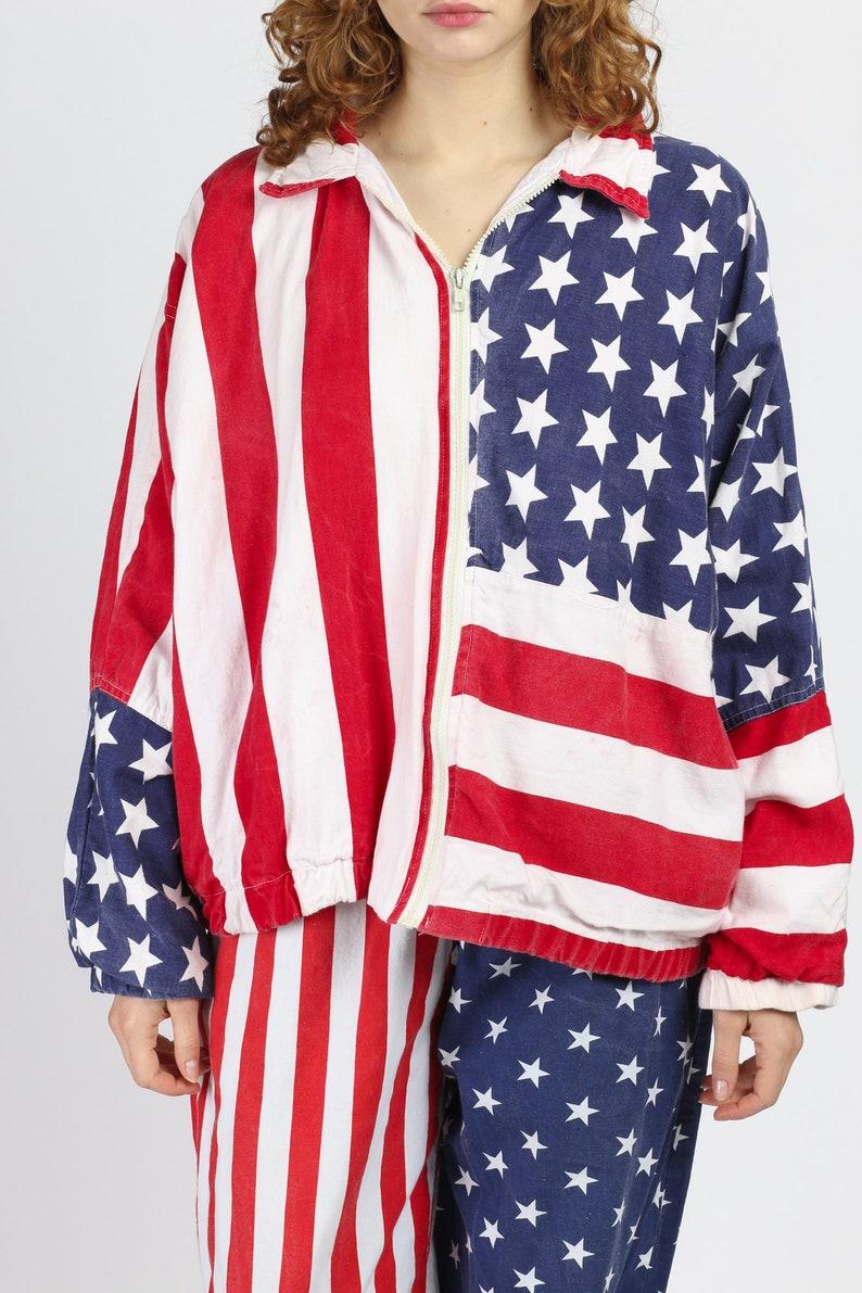 90s American Flag Print Oversize Cotton Windbreaker Vintage Lightweight Zip Up Jacket Large