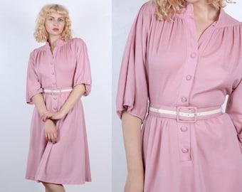 70s Secretary Dress | Vintage 1970s Pink Belted Dress Knee Length - Medium