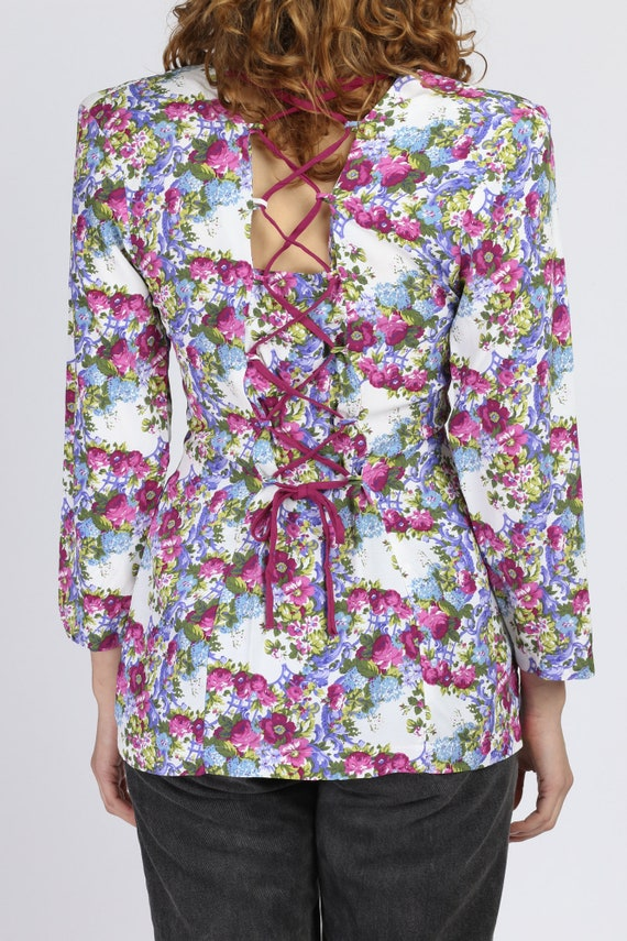 90s Floral Corset Lace Up Top - Small | Vintage R… - image 5