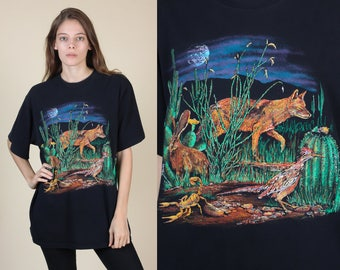 90s Desert Animal Shirt | Vintage Black Cactus Coyote Graphic Tee Mens Womens - Large