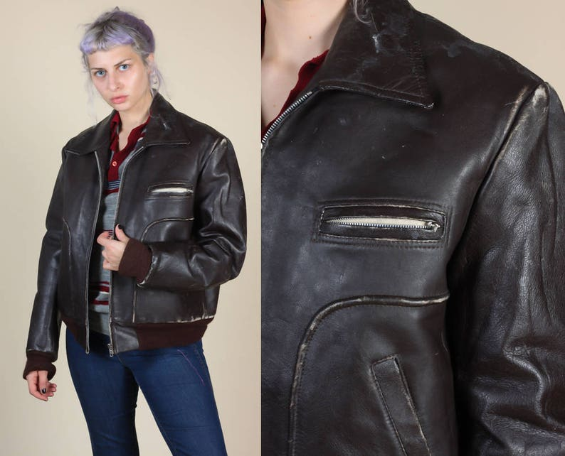 cf47f356419 Vintage Leather Flight Jacket 70s Distressed Black Brown