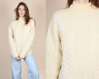 70s Cable Knit Sweater - Medium | Vintage Wool Knit Cream Pullover Jumper