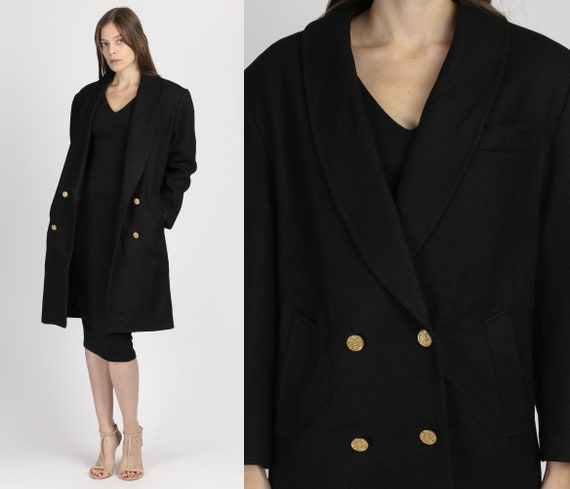 Vintage Black Wool Double Breasted Overcoat - Smal