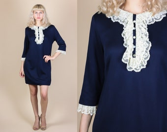 60s Tuxedo Ruffle Dress - XL // Vintage Navy Blue Long Sleeved Mini Shift